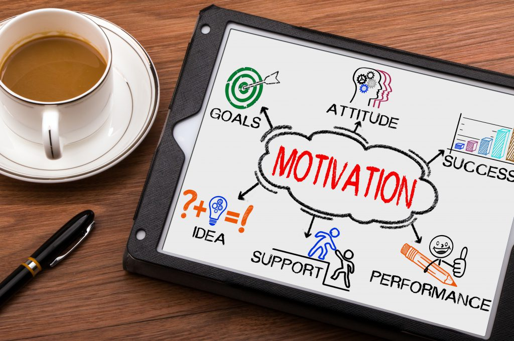 motivation concept with business elements and related keywords on tablet pc